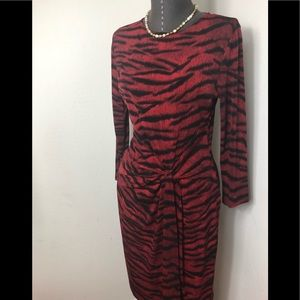 Michael Kors Knotted Red Leopard Dress